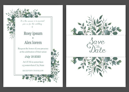 Greenery Wedding Invitation ,Template Eucalyptus Wedding Invitation. Vektoros illusztráció