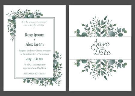 Invitación de boda verde, plantilla de invitación de boda de eucalipto. Ilustración de vector