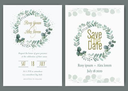 Scheda dell'invito di nozze Cornice disegnata a mano floreale. Invito a nozze nel verde, modello di invito a nozze eucalipto.