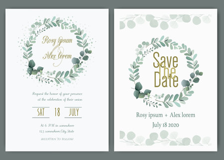 Tarjeta de invitación de boda Marco dibujado a mano floral. Invitación de boda verde, plantilla de invitación de boda de eucalipto.