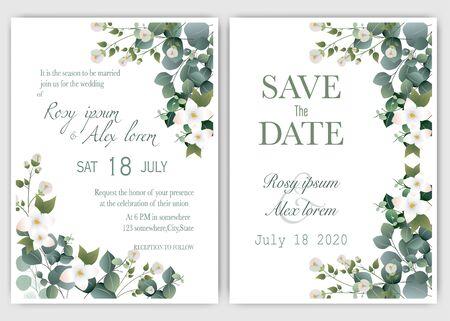 Wedding invitation card Floral hand drawn frame .Greenery Wedding Invitation ,Template Eucalyptus  Wedding Invitation.  イラスト・ベクター素材