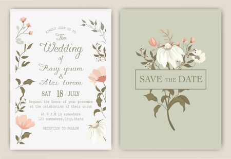 wedding invitation card with colourful floral and leaves.  イラスト・ベクター素材