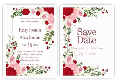 wedding invitation card with colourful floral and leaves. Çizim