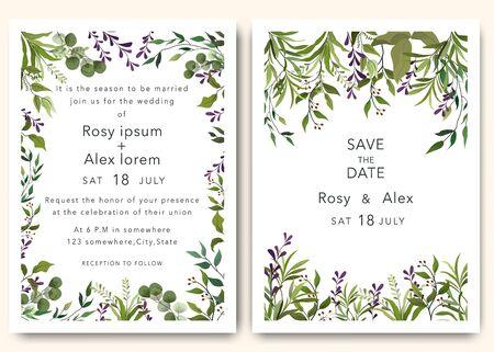 Wedding Invitations save the date card design with elegant garden anemone.