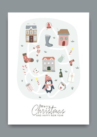 Merry Christmas greeting card pattern background.  イラスト・ベクター素材