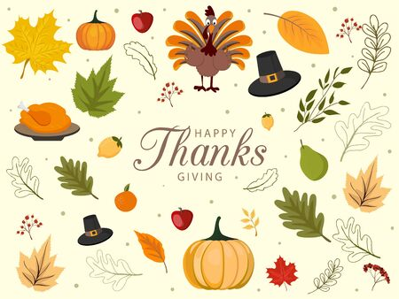 Happy Thanksgiving background with vegetables and colorful leaves.