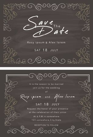 Vector set of invitation cards with elements Wedding collection.