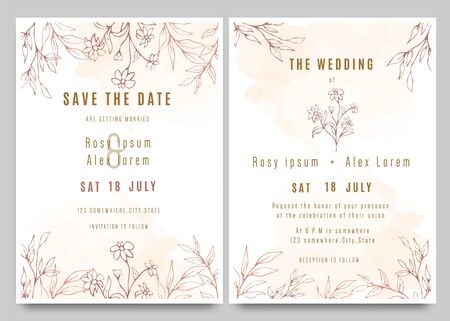 Wedding invitations save the date card with elegant garden anemone.