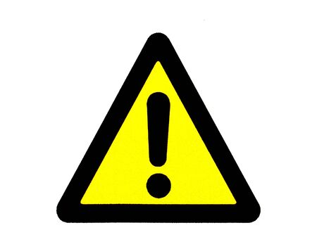 triangular warning sign: yellow isolated danger signal Stock Photo