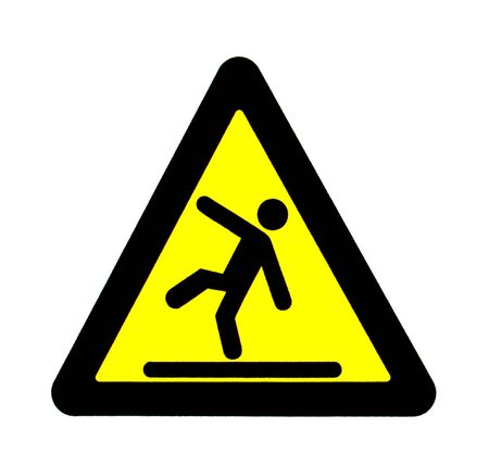 to stumble: Caution sign figures falling