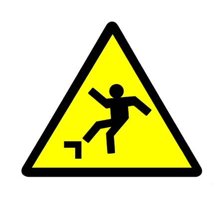 warning signal, watch the step, risk of falling photo