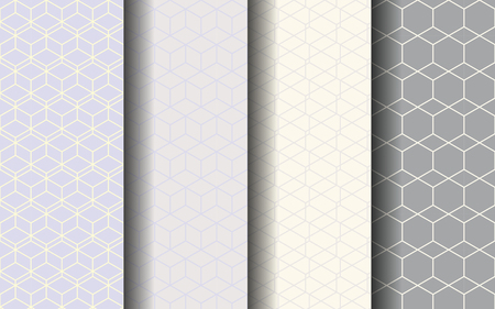 Hexagons and squares seamless pattern. Graphic design. EPS 10 vector. Silver tone color.