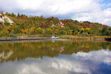 Autumn colors reflecting on the lake  photo