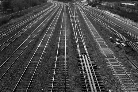 railroad station platform: Railroad tracks