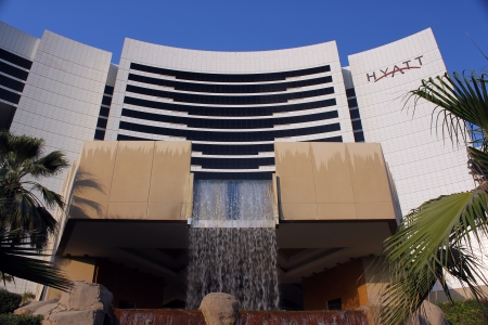 bur dubai: DUBAI, UNITED ARAB EMIRATES - NOVEMBER 1: Grand Hyatt Hotel in Dubai, UAE on November 1, 2010. Grand Hyatt Dubai hotel is a luxurious 5 star hotel with 674 luxury hotel rooms and suites located in the Bur Dubai district.