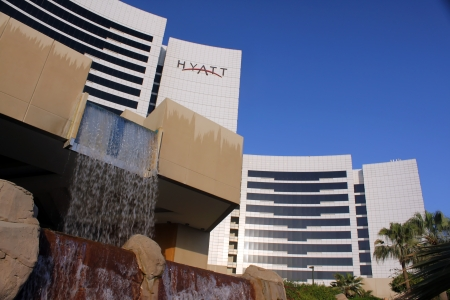 DUBAI, UNITED ARAB EMIRATES - NOVEMBER 1: Grand Hyatt Hotel in Dubai, UAE on November 1, 2010. Grand Hyatt Dubai hotel is a luxurious 5 star hotel with 674 luxury hotel rooms and suites located in the Bur Dubai district.