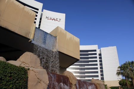 DUBAI, UNITED ARAB EMIRATES - NOVEMBER 1: Grand Hyatt Hotel in Dubai, UAE on November 1, 2010. Grand Hyatt Dubai hotel is a luxurious 5 star hotel with 674 luxury hotel rooms and suites located in the Bur Dubai district. Stock Photo - 20121109