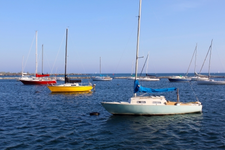 small boat: Moored sailboats on Lake Ontario
