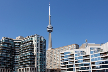 Toronto CN Tower and waterfront residential buildings, Toronto, Ontario, Canada Stock Photo - 21417280