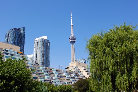 View of the CN Tower and residential buildings from Toronto Music Garden, Toronto, Ontario, Canada