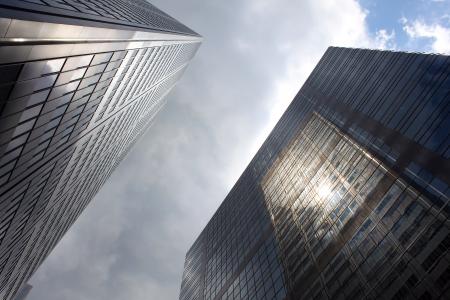low angle views: Rascacielos en el centro de Toronto, Ontario, Canad� Foto de archivo