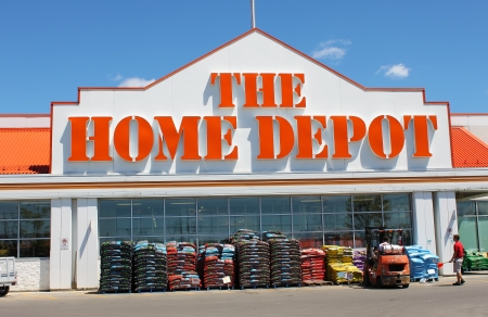 depot: The Home Depot store entrance  Editorial