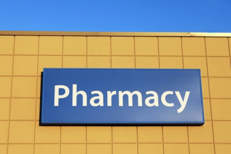 Pharmacy sign on a building facade