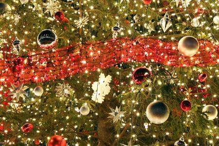 Christmas ornaments on a Christmas tree 스톡 콘텐츠