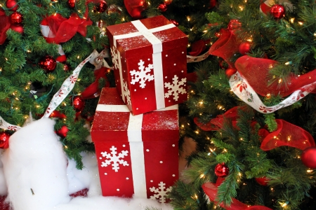 Boxes of presents under the Christmas tree photo