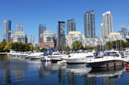 View of a downtown Toronto marina and residential buildings