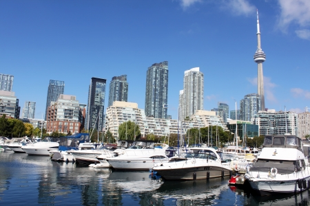 View of a downtown Toronto marina and luxury condominiums