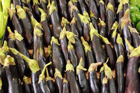 Organic eggplants in  a market