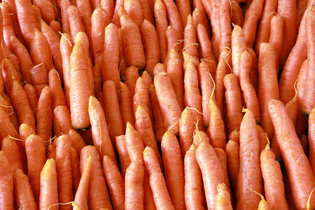 Pile of fresh carrots on a market stall photo