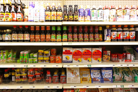 View of an Asian supermarket interior with variety of products on the shelves