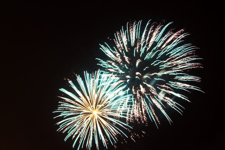 Close up of flowing fireworks at night 스톡 콘텐츠