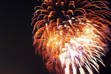 Close up of colorful fireworks over the night sky