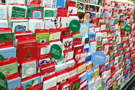 Greeting cards on display in a store