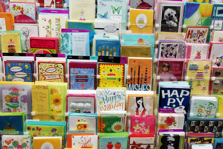 post cards: Greeting cards in a store Editorial