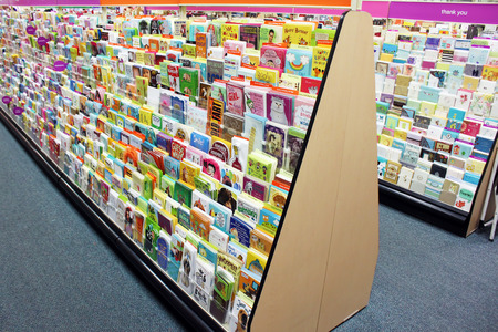 holiday display: Greeting cards in a store Editorial