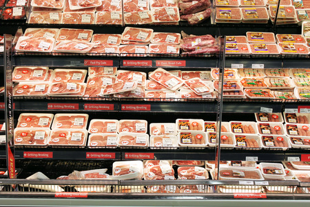 Meat and poultry products in a supermarket