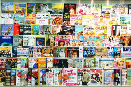Magazines on display