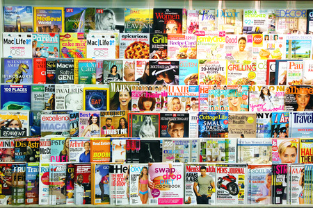 magazine page: Magazines on display