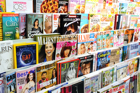 Magazines on display