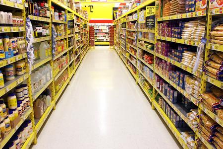 store shelf: Grocery store shelves