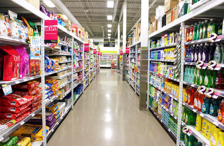 supermarket shopping: Supermarket shelves