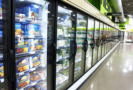 fridge: Frozen foods aisle in a supermarket