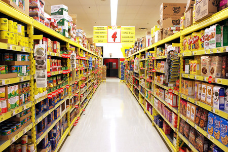 merchandise mart: A view of a No Frills grocery store shelves in Toronto, Ontario, Canada