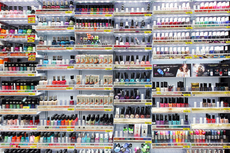 Variety of nail colors  on display in a department store