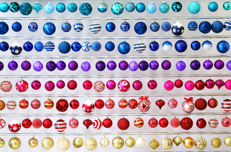 different shapes: Colorful Christmas ornaments