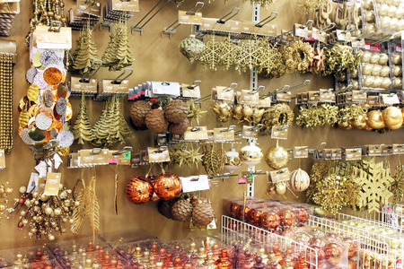 Variety of Christmas ornaments in a store 에디토리얼